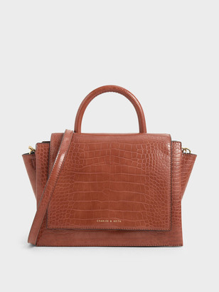 Charles & Keith Croc-Effect Top Handle Trapeze Bag