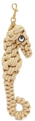 Anya Hindmarch Seahorse Woven-rope Key Ring - Beige