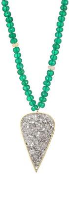 Shana Gulati Diamond, Green Onyx & Opal Pear Pendant Park Necklace