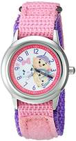 Disney Girl's 'Tsum Tsum' Quartz Stainless Steel and Nylon Casual Watch, Color:Pink (Model: WDS000118)
