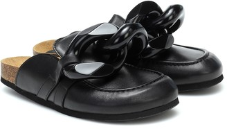 J.W.Anderson Chain-trimmed leather slippers