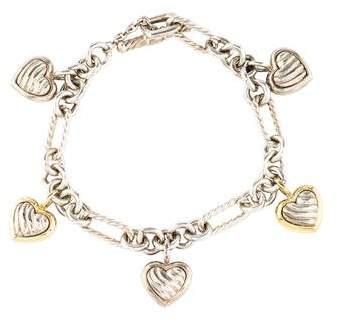 David Yurman Two-Tone Cable Heart Charm Bracelet