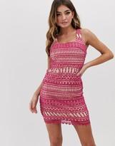 Love Triangle Stripe Detail Lace Midi Dress