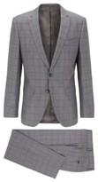HUGO BOSS - Slim Fit Suit In Checkered Virgin Wool - Open Grey