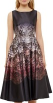 Ted Baker Ombré Fan Print Cutout Dress