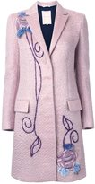 Roksanda embroidered single breasted coat - women - Lamb Skin/Mohair/Wool - 8
