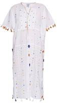 Thierry Colson Pompom Garden-embroidered cotton kaftan