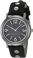 Nine West Women's NW/2059BKBK Silver-Tone and Black Strap Watch