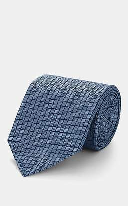 Isaia Men's Geometric-Pattern Silk Jacquard Necktie - Blue