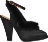 Sonia Rykiel Peep-toe sandal with mink trim