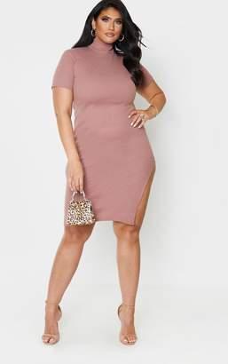 PrettyLittleThing Plus Mauve Rib High Neck Short Sleeve Midi Dress