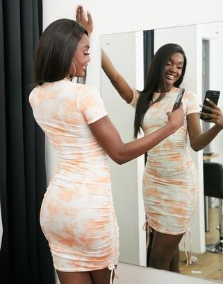 Fashionkilla mini dress with ruched side detail in orange tie dye