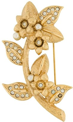 Christian Dior 1980s Pre-Owned Floral Brooch