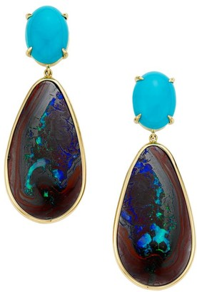 Ippolita Rock Candy 18K Yellow Gold, Opal & Turquoise Drop Earrings