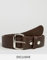 Reclaimed Vintage Inspired Leather Belt In Brown With Emboss