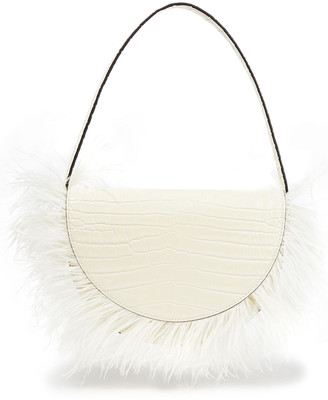 STAUD Amal Feather-embellished Croc-effect Leather Shoulder Bag