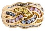 Ring 14K Multicolor Sapphire & Diamond Braided