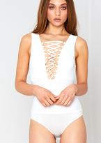 Missy Empire Tamara White Lace Up Sleeveless Bodysuit