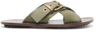 Marni Buckled Crossover Leather Slides - Womens - Khaki