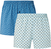 John Lewis Tropical Woven Cotton Boxer Shorts, Blue