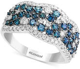 Effy EFFYandreg; Shades of Bleu Diamond Cluster Band (1-1/5 ct. t.w.) in 14k White Gold