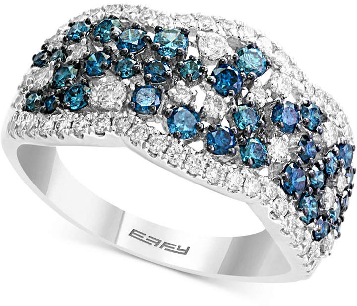 Effy Shades of Bleu Diamond Cluster Band (1-1/5 ct. t.w.) in 14k White Gold