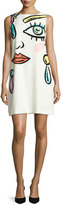 Moschino Sleeveless Fantasy-Print Shift Dress, White