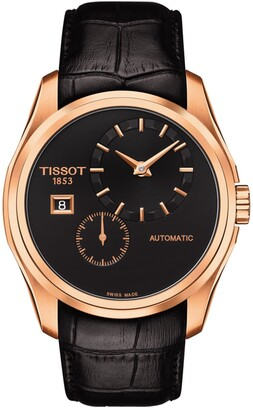 Tissot Men's Couturier Automatic Embossed Leather Strap Watch, 39mm