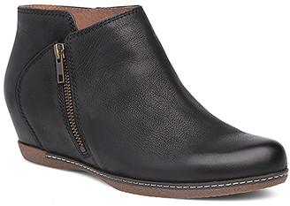 Dansko Women's Casual boots black - Black Leyla Leather Wedge Boot - Women