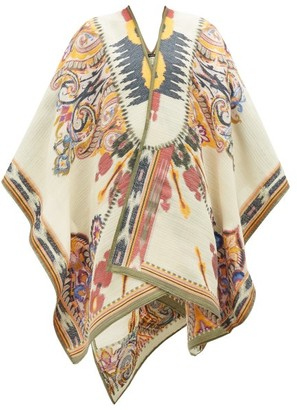 Etro Floral-jacquard Wool-blend Cape - Womens - White Multi