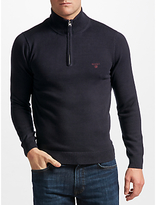 Gant Cotton Half-zip Jumper, Navy