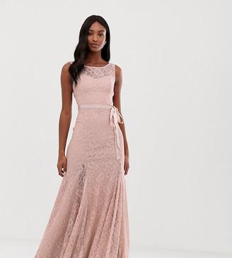 City Goddess Tall Lace Maxi Dress With Satin Belt-Pink