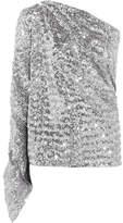 Roland Mouret Kara One-shoulder Sequined Stretch-knit Top - Silver