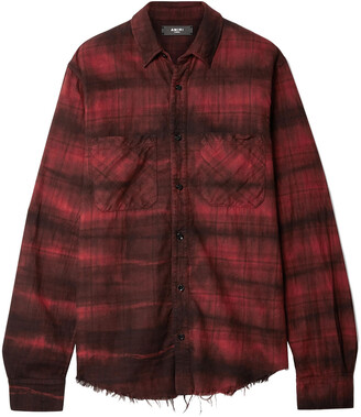 Amiri Frayed Checked Cotton-flannel Shirt