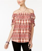 Hippie Rose Juniors' Tie-Sleeve Off-The-Shoulder Top