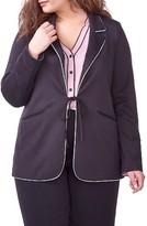 Plus Size Women's Michel Studio Ponte Tie Front Blazer