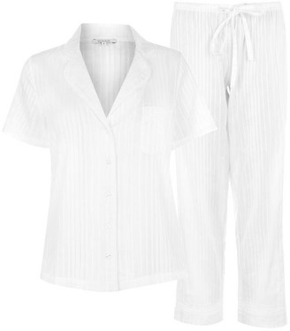 Figleaves Cotton Short Sleeves Striped Pyjama Set