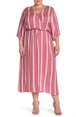 ALL IN FAVOR Stripe Surplice Neck Maxi Dress (Plus Size)