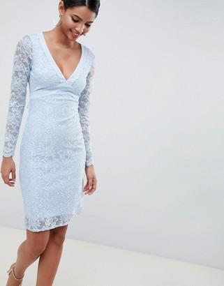 City Goddess Long Sleeve V Neck Open Back Pencil Dress With Bow Back-Blue