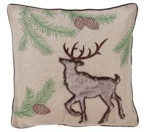 "Saro Lifestyle Embroidered Throw Pillow with Faux Fur Reindeer Design, 16"" x 16"""