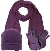 Luxury Divas Polar Fleece Winter White 3 Piece Hat Scarf & Glove Set