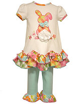 Bonnie Jean Bonnie Baby Baby Girls Newborn-24 Months Plaid Easter Bunny-Applique Dress & Ruffle-Hem Leggings Set