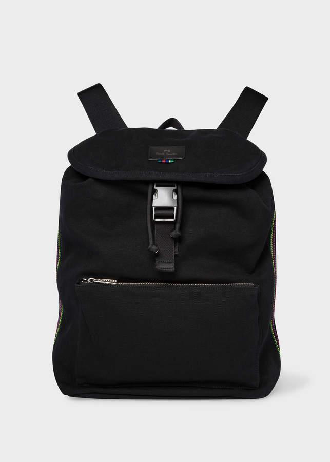 Paul Smith Men's Black Canvas Flap Backpack