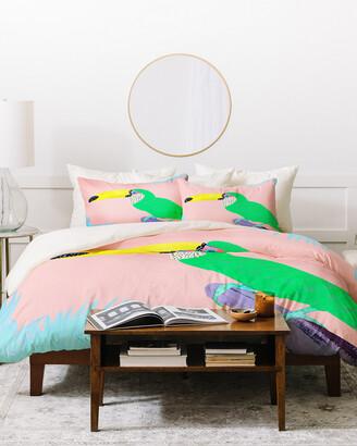 Deny Designs Kangarui Tropical Toucan Duvet Cover Set