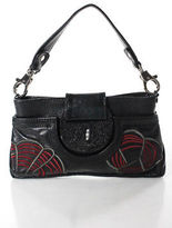 R & Y Augousti R&Y Augousti Black Multi Color Leather Embroidered Shoulder Handbag