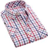 DreamMa Men'S Thin Casual Shirt Plaid Short-Sleeved Shirt