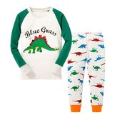 Huata Dinosaur Little Boys' Pajama Set Tee&Pants 100% Cotton Baby Clothes (6T, )