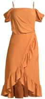 Maje Portefeuille Ruffle Detail Midi Dress