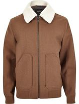 River Island Mens Brown wool blend borg collar jacket