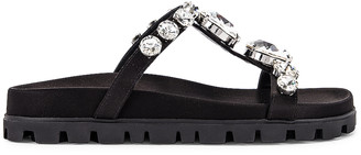 Miu Miu Jewel Slides in Black | FWRD